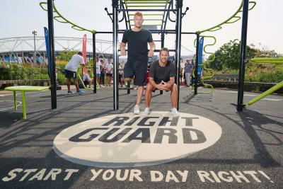 Freddie Flintoff and Jamie Redknapp at our Right Guard gym in Queen Elizabeth Olympic Park